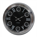 Large Chrome with Black Face Multi 6 Dial Wall Clock