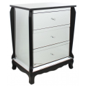 Black Trim Mirror 3 Drawer Bedside Cabinet
