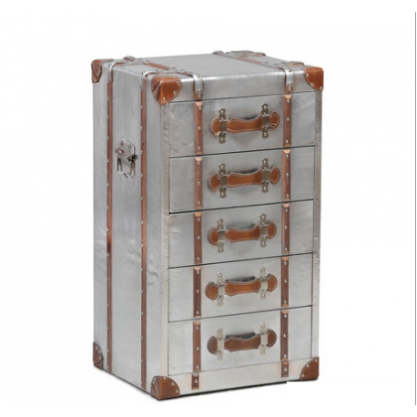 Industrial Travel Trunk Silver Drawer Unit