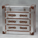 Industrial Travel Trunk Silver Chest of Drawers
