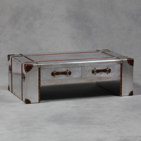 Industrial travel trunk silver 4 drawer coffee table Silver trunk coffee table