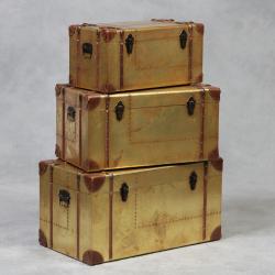 Industrial Travel Trunk Antiqued Gold Set of 3 Trunks