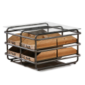 Industrial Metal and Wood 8 Drawer Coffee Table Shelf Unit