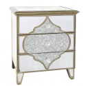 Morocco 3 Drawer Mirror Bed Side Cabinet Table