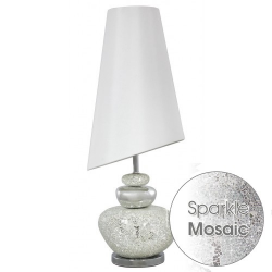 White Lustre Pebble Table Lamp With White Shade