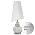 White And Silver Mosiac Pebble Table Lamp With White Shade