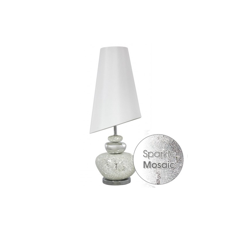 White and silver mosiac pebble table lamp with white shade white lustre pebble table lamp with white shade aloadofball Image collections