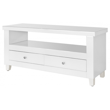 White Glass Two Drawer TV Unit