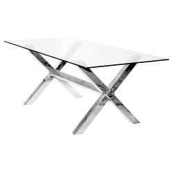 Crossly GLass And Chrome Rectangular Dining Table