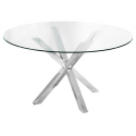 Crossly Glass and Chrome Dining Table