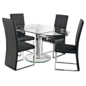 Oval Glass And Chrome Extending Dining Table
