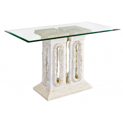 Mactan Stone and Glass Tower Console Table
