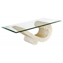 Mactan Stone and Glass Sea Crest Coffee Table