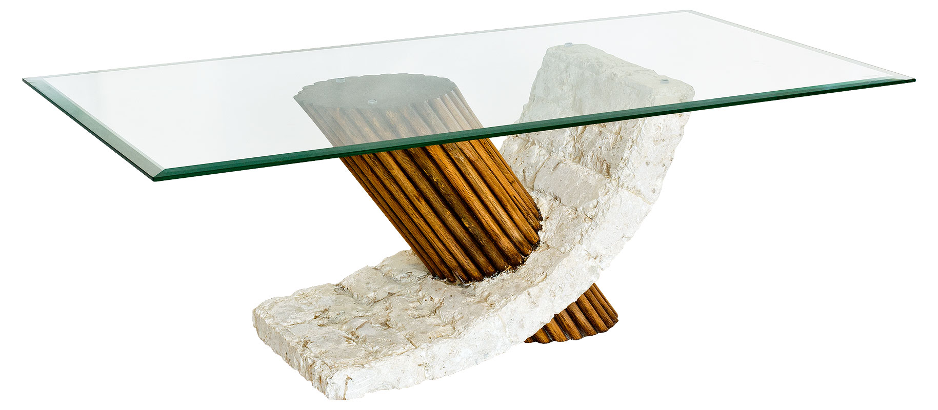 Picture of: Mactan Stone Glass And Bamboo Bamby Coffee Table