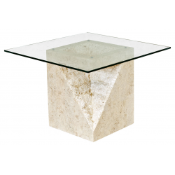 Mactan Stone and Glass Athens Lamp End Table