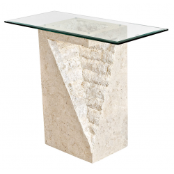 Mactan Stone and Glass Athens Pedestal Table