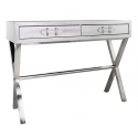 Silver Snakeskin Console Table With Buckle Drawers