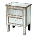 Vintage Antique Silver Venetian Bedside Cabinet 2-Drawers