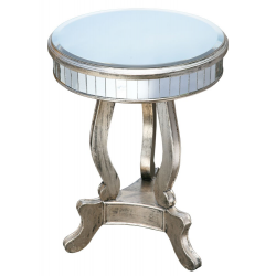 Vintage Silver Circular Mirrored Occasional Lamp Table