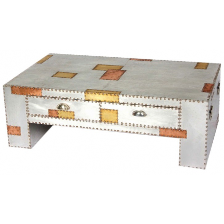 Aluminium and Copper Industrial Coffee Table