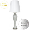 Silver Mosaic Tall Curve Table Lamp With A Pure White Shade