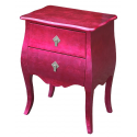 High Gloss Pink Bombe Bedside Lamp Table