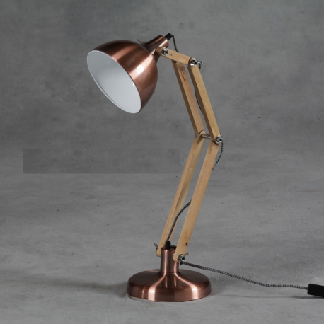 Vintage Copper With Wooden Arms Traditional Desk Lamp