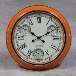 "Orange with White Face ""London"" Multi Dial Wall Clock"