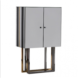 Black, Gold And Clear Milano Deco Bar Cabinet