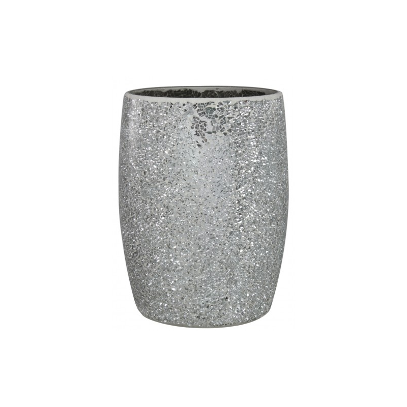 Silver mosaic sparkle waste bin for Decorative items from waste