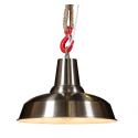 Industrial Brushed Steel Ceiling Pendant with Rope and Hook Hanging