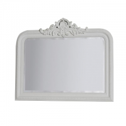White Overmantle Mirror with Crest