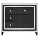 Manhat Black And Clear Mirror 4 Drawer And 1 Door Cabinet