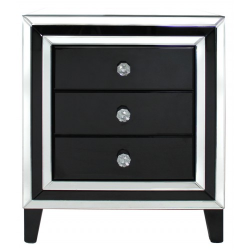 Manhattan Black And Clear Mirror 3 Drawer Bedside Cabinet