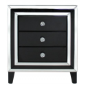 Manhat Black And Clear Mirror 3 Drawer Bedside Cabinet