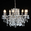 8 Branch Antique Silver Leaf Shallow Chandelier