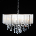 Chrome 8 Branch Chandelier With White Shade