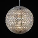 Medium Chrome Framed Fine Crystal Ball Chandelier