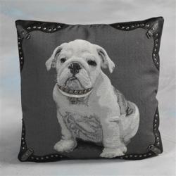 Bulldog Grey Cushion With Stud Details
