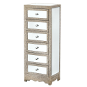 Champagne Silver Mirror Moc Croc Chest of Drawers Tall Boy