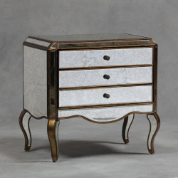 Large Gold Egded Antiqued Glass Chest of Drawers