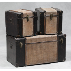 Antique Black And Rattan Brooklyn Set Of 3 Trunks