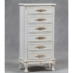 Antiqued Cream St. Etienne Tall Chest Of Drawers