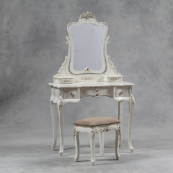 ANTIQUED CREAM ST. ETIENNE DRESSING TABLE AND STOOL SET