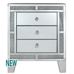 Milano Mirror 3 Drawer Bedside Lamp Table