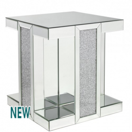 Milano Mirror Side Lamp Table