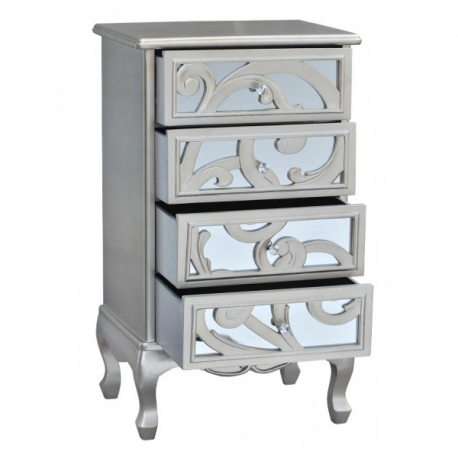 Silver Rococo 4 Drawer Chest
