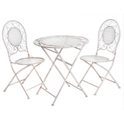 Folding Iron Garden Table and Chair Set in Cream