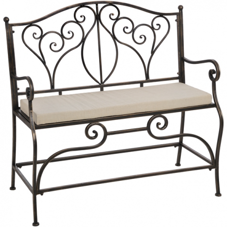 Remarkable Antique Brown Iron Bench Seat With Ivory Seat Cushion Ncnpc Chair Design For Home Ncnpcorg