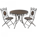 Antique brown iron garden bistro table with two chairs Premium Collection